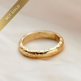 Personalised Textured 9ct Gold Ring