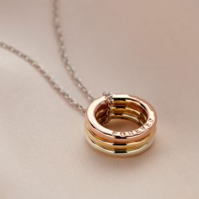Personalised 9ct Gold Tricolore Mini Message Necklace