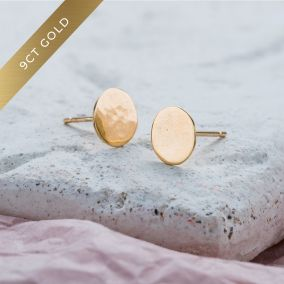 9ct Gold Hammered Disc Earrings