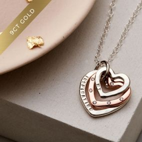 Personalised 9ct Gold & Silver Family Heart Diamond Necklace