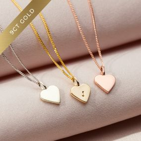 Mini 9ct Gold Initial Heart Necklace