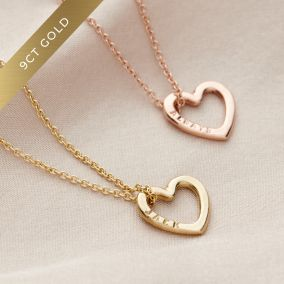 Personalised 9ct Gold Mini Message Heart Necklace