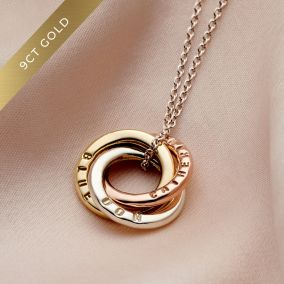 Personalised 9ct Mixed Gold Mini Russian Ring Necklace