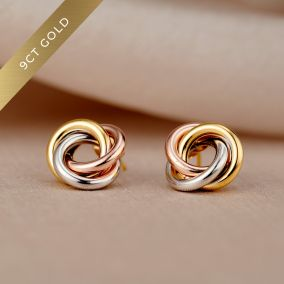 Mixed 9ct Gold Russian Ring Stud Earrings