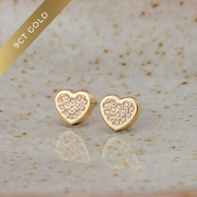 Pavé Heart 9ct Gold Stud Earrings with Cubic Zirconia