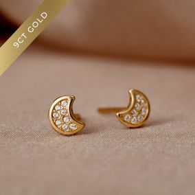 Pavé Moon 9ct Gold Stud Earrings with Cubic Zirconia
