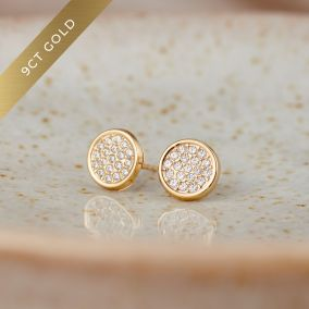 Pavé Disc 9ct Gold Stud Earrings with Cubic Zirconia