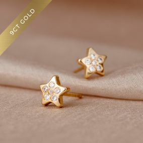 Pavé Star 9ct Gold Stud Earrings with Cubic Zirconia
