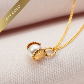 9ct Gold Pearl & Shell Charm Necklace