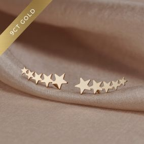 Shooting Star 9ct Gold Climber Earrings