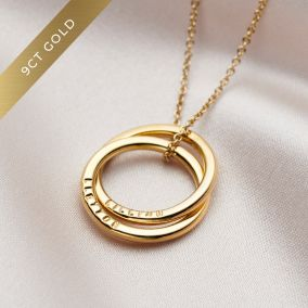 Personalised 9ct Gold Two Ring Russian Necklace