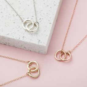 Personalised 9ct Gold Double Hoop Names Necklace