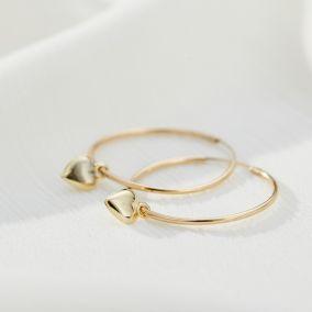 Large 9ct Gold Heart Charm Hoop Earrings