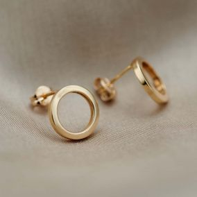 9ct Gold Open Circle Earrings - Small