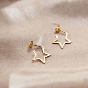 9ct Gold Open Star Earrings