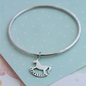 Personalised Rockinghorse Charity Christening Bangle