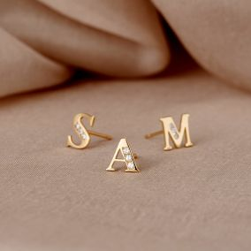 9ct Gold Initial Earrings