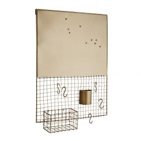 Antique Gold Metal Memo Board with Accessories
