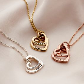 Personalised Baby Names Hearts Necklace