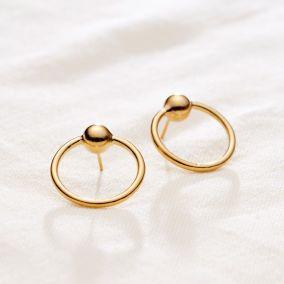 Ball Hoop Stud Earrings