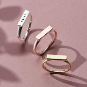 Personalised Bar Stacker Ring