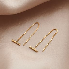 T Bar 9ct Gold Pull Through Earrings