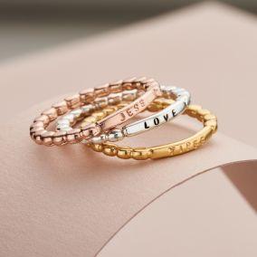 Personalised Bar Beaded Ring