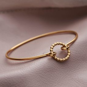 Gold Personalised Beaded Circle Open Bangle