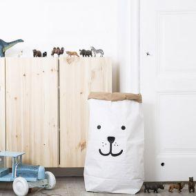 Bear Paper Bag Storage Basket