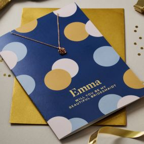 Personalised Beautiful Bridesmaid Card & Necklace Set