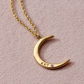 Personalised Birthstone Crescent Moon Necklace