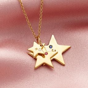 Personalised Birthstone Family Star Necklace