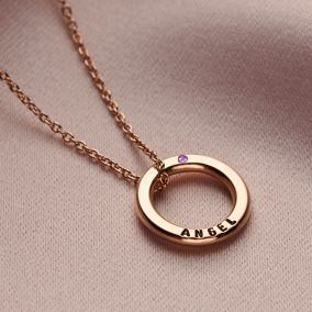 Personalised Mini Message Birthstone Necklace