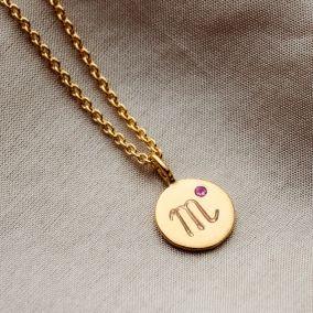 Birthstone Zodiac Disc Necklace