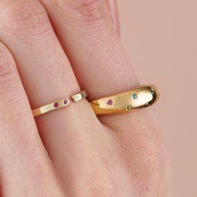 Birthstone Horn Open Ring