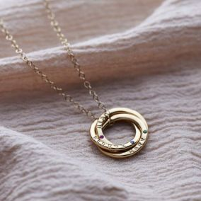 9ct Gold Birthstone Russian Ring Necklace