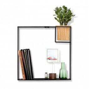 Black Cube Shelf with Planter
