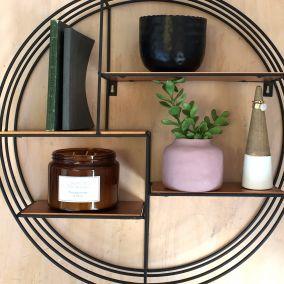 Round Black Wall Display Shelf