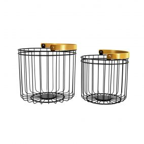 Black Wire Basket with Gold Handle