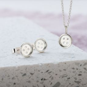 Mini Button Necklace And Earrings Set
