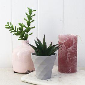 Cracked Effect Pink Deco Vase