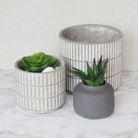 Grey Decorative Dash Concrete Pot
