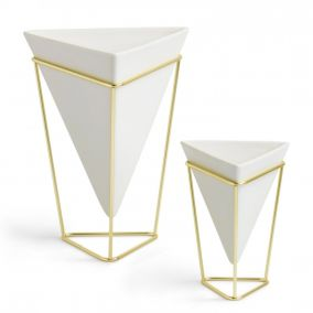 Set of Ceramic Vases on Brass Stand