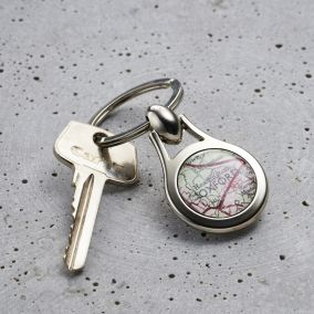 Personalised Vintage Map Silver Keyring