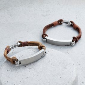 Men's Personalised Leather Cord Initial Bracelet