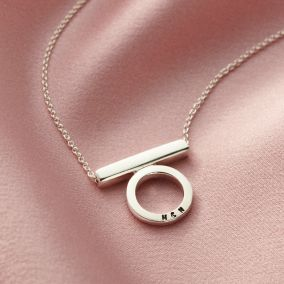 Personalised Circle Bar Stack Necklace