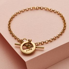 Personalised Albert T Bar Charm Bracelet