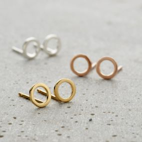 Fine Circle Stud Earrings