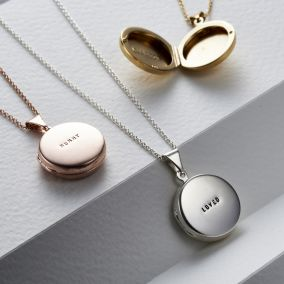 Personalised Small Round Locket Necklace