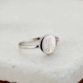 Personalised Engraved Initial Disc Ring
